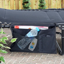 Load image into Gallery viewer, Azuma Sun Lounger Organiser Black 3 Pockets Water Resistant 37cm