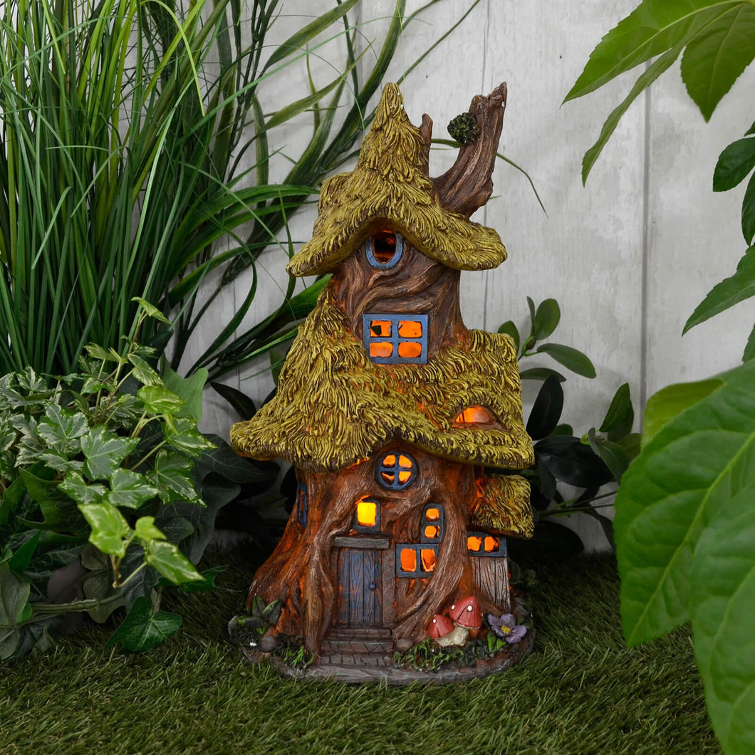 Azuma Thatched Cottage Solar Garden Ornament House Yellow LED