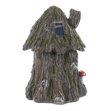 Load image into Gallery viewer, Azuma Cottage Tree House Solar Garden Ornament Yellow LED Lights
