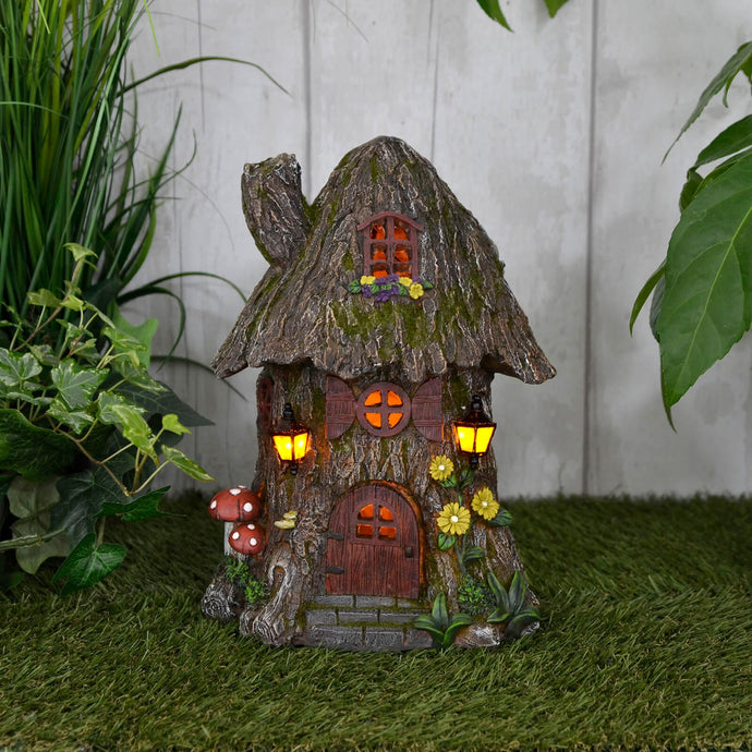 Azuma Cottage Tree House Solar Garden Ornament Yellow LED Lights