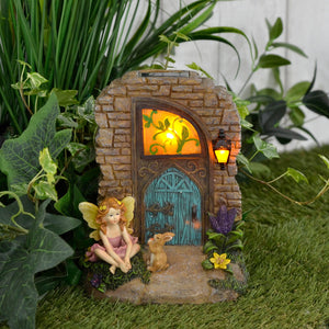 Azuma Doorway Solar Garden Ornament Yellow LED Lights 19cm