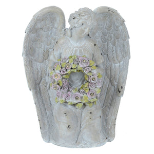 Azuma Angel With Garland Solar Garden Ornament White LEDs