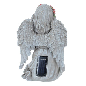 Azuma Angel With Cross Solar Garden Ornament Yellow LED
