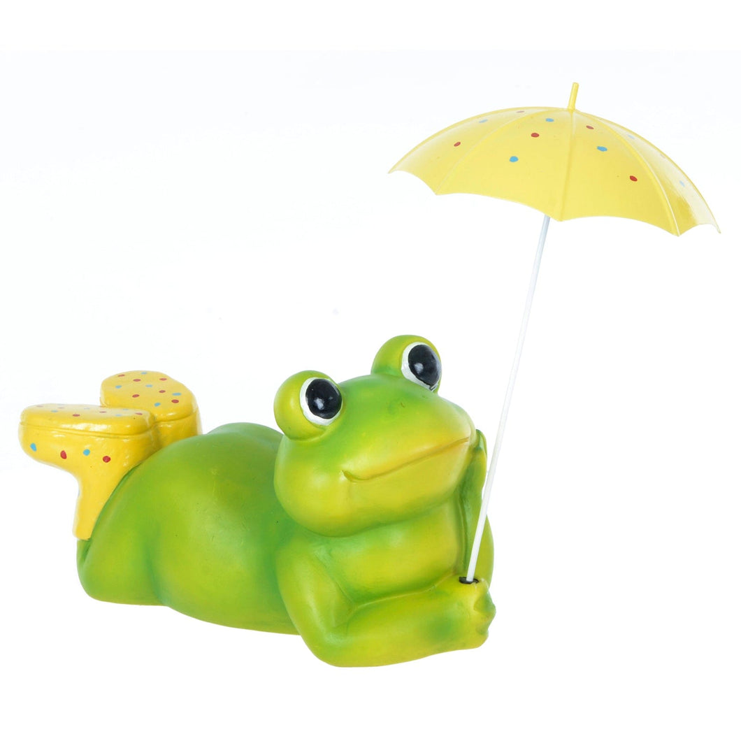 Azuma Garden Ornament Green Frog Wellies Umbrella 32cm
