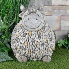 Load image into Gallery viewer, Grey sitting cow garden ornament, with pebble mosaic body