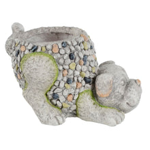 Load image into Gallery viewer, Azuma Crouching Dog Garden Planter Grey Mosaic Outdoor 33cm