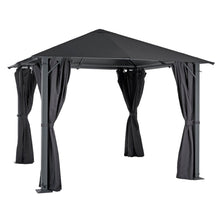 Load image into Gallery viewer, Large grey 3m square pavillion gazebo with pull back curtains on all 4 sides, for garden parties and events outdoors