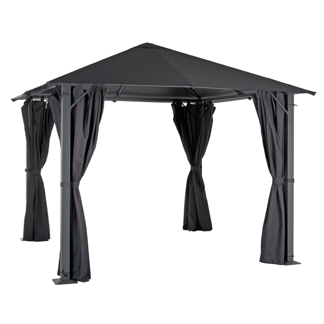 Large grey 3m square pavillion gazebo with pull back curtains on all 4 sides, for garden parties and events outdoors