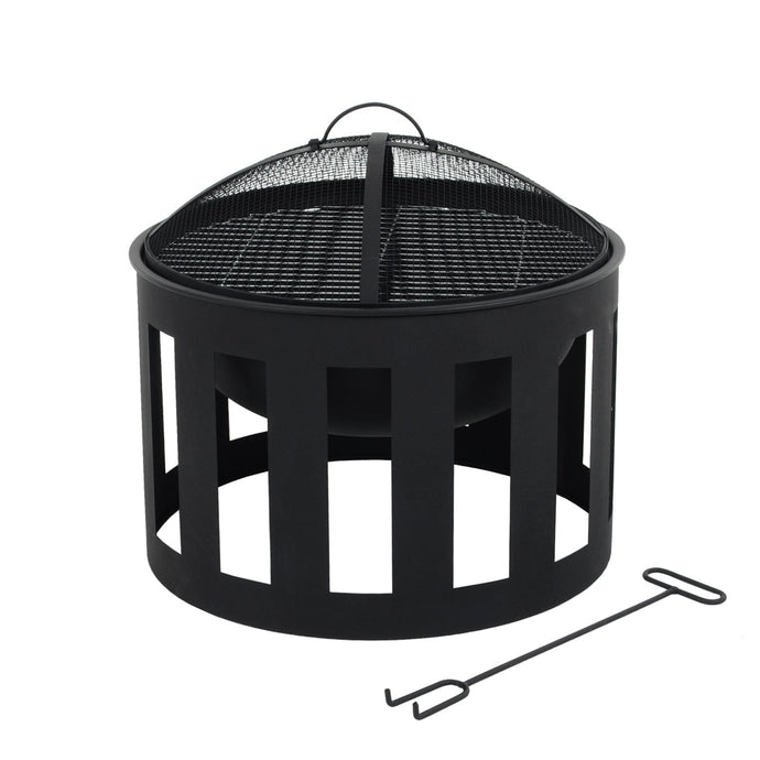 Vesta black steel fire pit barbecue with mesh spark guard and poker included