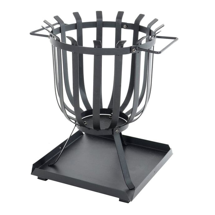 Black steel log burner with ash collection tray and carry handles