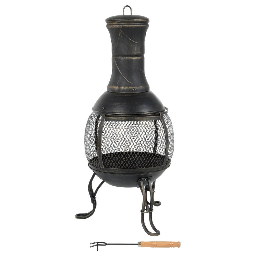 Blakc steel chiminea with antique gold finish, all round mesh window, 3 ornate legs and chimney cap with handle, includes wood handled fire poker