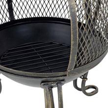 Load image into Gallery viewer, Detail of charcoal grate and mesh sides of Eldur chimenea fire for your patio