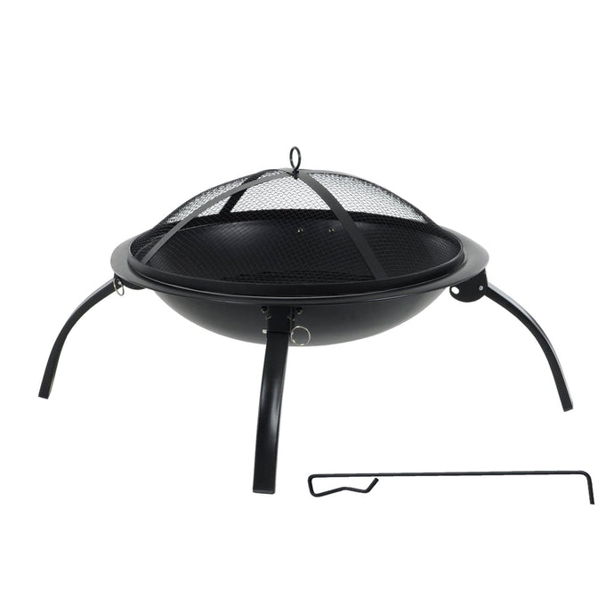 Black steel modern design fire pit with folding legs, mesh cover and poker included