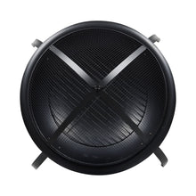 Load image into Gallery viewer, Top view of Vulcan fire pit with black mesh spark guard and charcoal grate