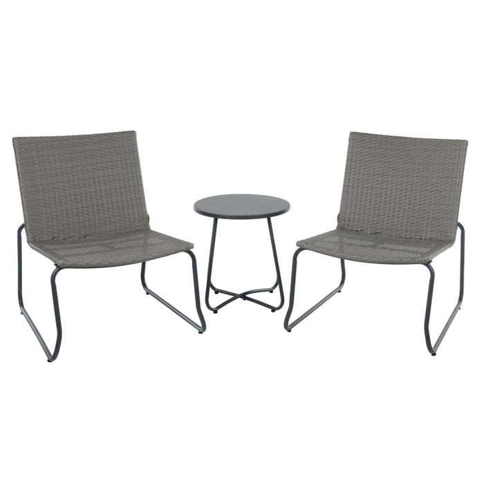 dark grey rattan bistro set with 2 chairs and metal table