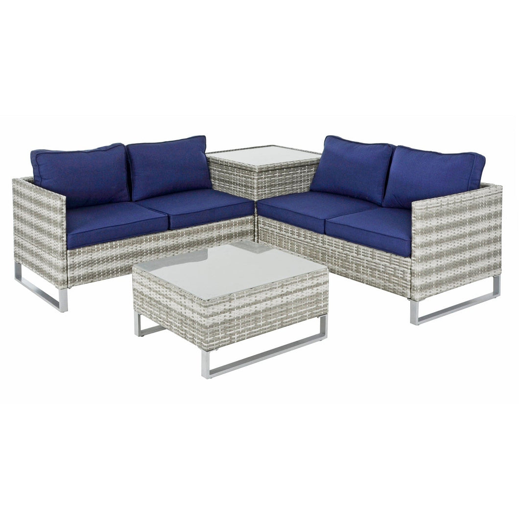 Azuma Treviso Garden Sofa Set Grey Rattan Coffee Table Ottoman
