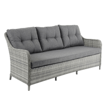 Load image into Gallery viewer, 3 seater sofa with tufted back cushions and rattan frame