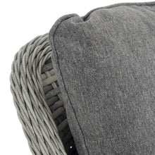 Load image into Gallery viewer, close up of rattan edge and grey cushion