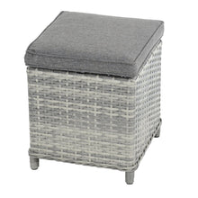 Load image into Gallery viewer, single ottoman with two tone grey rattan and grey cushion