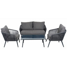 Load image into Gallery viewer, Azuma Teramo Garden Sofa Set Black String Seats Glass Table