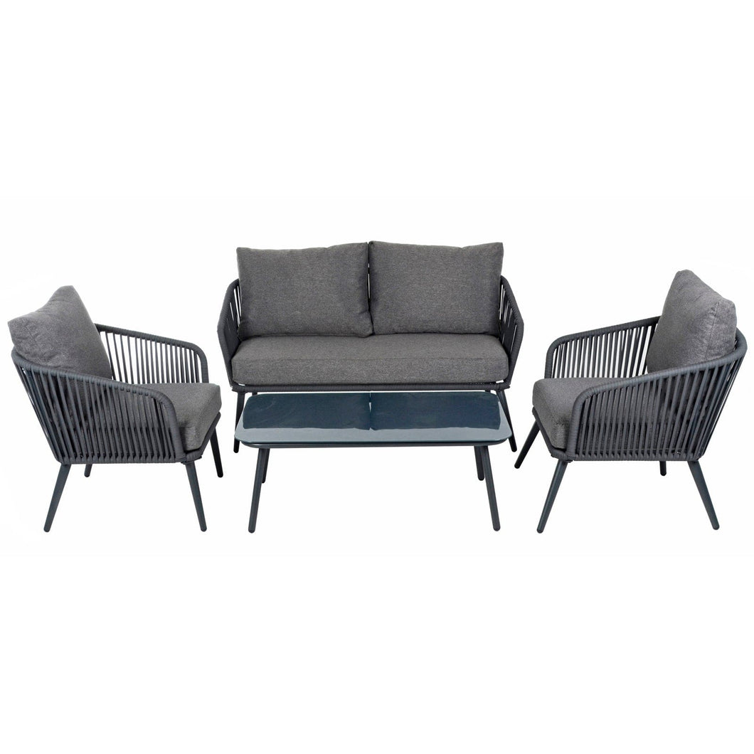 Azuma Teramo Garden Sofa Set Black String Seats Glass Table