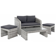 Load image into Gallery viewer, Azuma Varenna garden sofa set with grey rattan 2 seater sofa, 2 ottoman seats and a glass top coffee table