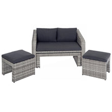 Load image into Gallery viewer, Grey rattan garden sofa set with dark grey cushions, showing the table stored neatly under the sofa