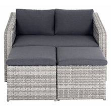 Load image into Gallery viewer, Grey outdoor furniture set with sofa and ottomans moved together to form a lounger