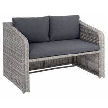 Load image into Gallery viewer, 2 seater grey sofa with storage for the coffee table underneath