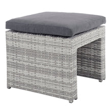 Load image into Gallery viewer, grey rattan garden ottoman seat with dark grey cushion