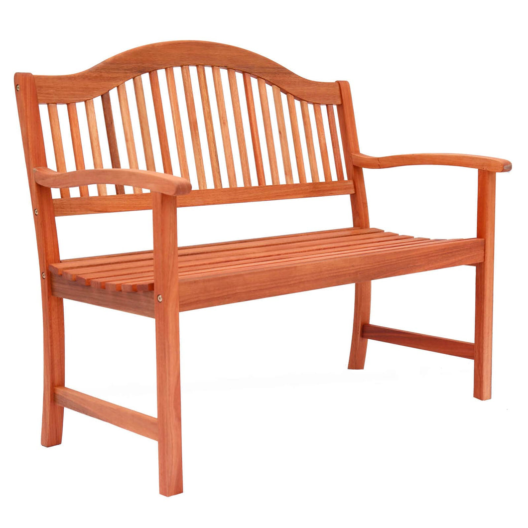 2 seater wooden bench for your garden, traditional style with slatted back and seat