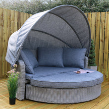 Load image into Gallery viewer, Azuma Milan Grey Rattan Luxury Day Bed 2 Seater Garden Sofa