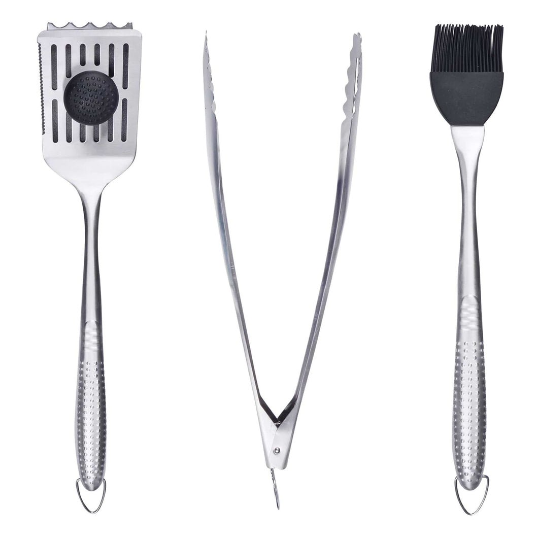 Azuma stainless steel barbecue tool set.