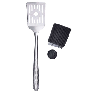 Azuma stainless steel spatula and grill cleaner.