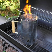 Load image into Gallery viewer, Azuma bbq charcoal chimney starter with flames.