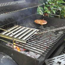 Load image into Gallery viewer, Azuma stainless steel BBQ sausage roller tool on bbq.