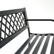 Load image into Gallery viewer, Azuma Central Park metal garden bench metal seat slats.