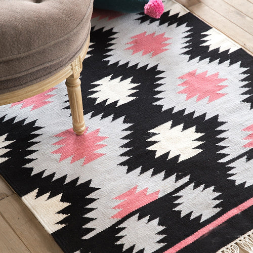 100% Wool Black + White + Pink Girls' Rug