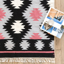 Load image into Gallery viewer, 100% Wool Black + White + Pink Girls' Rug