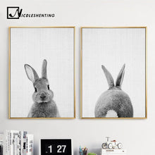 Load image into Gallery viewer, Black + White Rabbit Wall Art