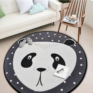 Grey Animal Round Kids Rug