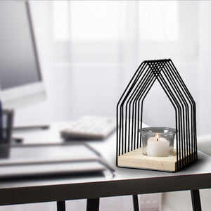 Iron Geometric House Candle Holder