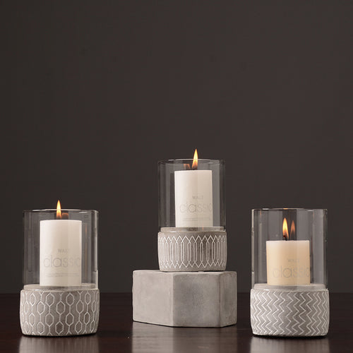 Concrete + Glass Candle Holder