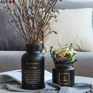 Black + Gold Glass Vase