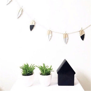 Wood Feather Garland