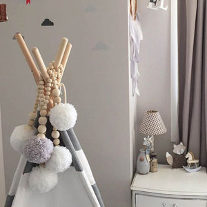 Wooden Beads Pompom Tassel Decor
