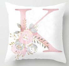 Load image into Gallery viewer, Floral Initial Pillow