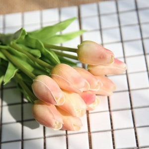 Tulips Artificial Flowers In Vase 10pcs