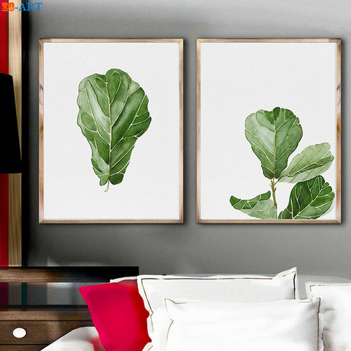 Watercolor Fiddle Fig Leaf Tree Wall Art