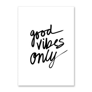 Good Vibes Only Canvas Paintings Black White Quotes Nursery Wall Art Poster Print Pictures For Kids Room Home Decor Unframed